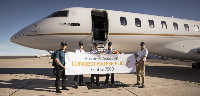 Bombardier Global 7500 completes world's longest business jet flight