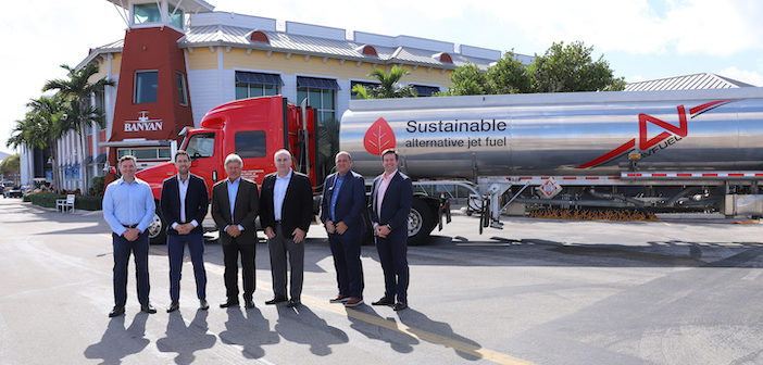 Avfuelhas delivered 7,000 gallons of sustainable aviation fuel (SAF) to Banyan Air Service (KFXE) in Fort Lauderdale, Florida