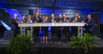 Ceremonial steel beam signing at the Fort Worth MRO announcement