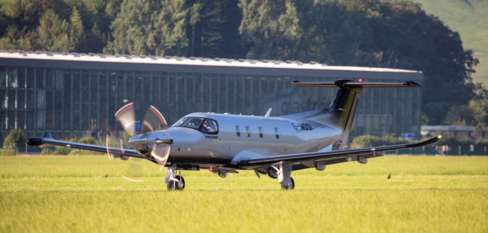 PC-12 NGX departing Stans, Switzerland, newly registered G-MDSI