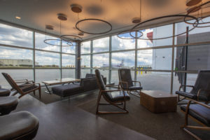 Clients have access to the new 1,300ft2 Voyager Lounge