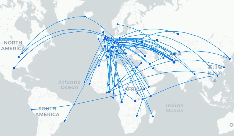 Covid-19 flight map