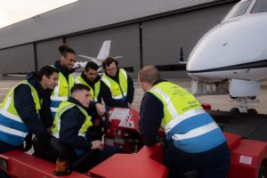 Apprentices at London Biggin Hill Airport training with the ramp safety team