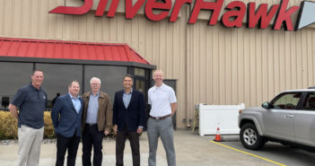 Pictured (left to right): Gene Luce, Director of Maintenance & Avionics, Kyle Schultz, VP of Operations, Jeff Ross, Chairman, Brian Corbett, Chief Executive Officer, and Mike Gerdes, President of Silverhawk Aviation