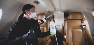 MicroShield 360 being professionally applied on a Flexjet aircraft