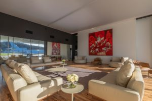 The lounges at HADID Riviera have been designed to be relaxing and feature contemporary artwork