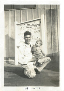 A.Ken Forester, Sr., Meridian founder, is shown with son, Ken Jr., in front of Mallard Air Service. This was the company's first location at Teterboro Airport (photo circa 1947)