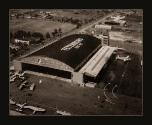 An aerial view of the Mallard Air Service hangar at TEB (photo circa 1949)