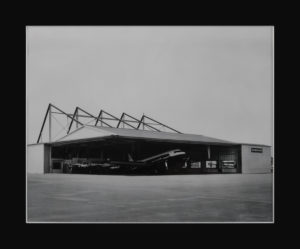 The former Brewster Aeronautical hangar was built in the late 1940s and eventually became the American Cyanamid hangar. In 1995, Meridian (then Million Air) purchased the lease for the hangar and property from American Home Products (photo circa 1950s)